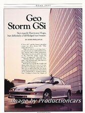 1990 Geo Storm Road Test Original Car Review Report Print Article J783