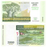 Madagascar 2000 Ariary 2007 Commemorative  P-93a Banknotes UNC