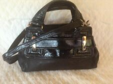 Kooba Black Leather And Patent Trim Satchel Handbag