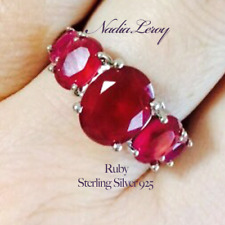 Genuine Natural Ruby Ring sz 7 New, Solid Sterling Silver, Designer, 6 Tcw,