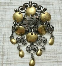 Vintage Norwegian SØLJE' Filigree Silver & Brass Brooch