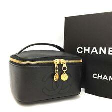 CHANEL CC Logo Caviar Skin Cosmetic Vanity Hand Bag Black /p88