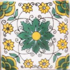 #C100) Mexican Tile sample Ceramic Handmade 4x4 inch, GET MANY AS YOU NEED !!