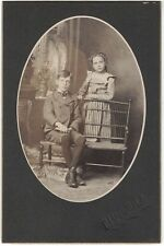 Young Girl and Brother - Cabinet Photo Turn of Century, Highland, Illnois