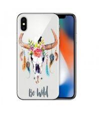 Coque Iphone X Skull Bull boheme plumes fleur wild transparente