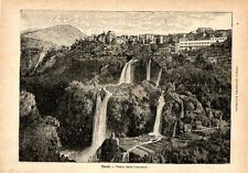 Stampa antica TIVOLI Veduta panoramica Roma 1891 Old print
