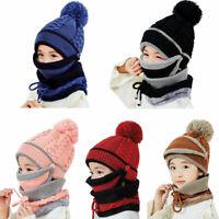 Girls Boys Kids Knitted Beanie Scarf Mask Set Warm Fleece Winter Ski Hat Pompom