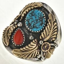 Navajo Gold Silver Turquoise Coral Big Boy Mens Ring