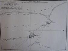 MOUILLAGE DE L'ILE GROSA ,1862, GAUTTIER, PLANS PORTS RADES MER MEDITERRANEE