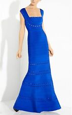 New HERVE LEGER bandage GEORGIANNA Blue SCALLOP EMBROIDERED gown dress S