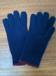 Crewcuts 100% Cashmere Gloves NAVY with BURGUNDY Tipping size M Boys Girls