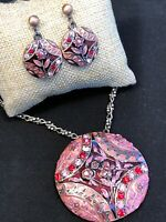 Vintage Enameled Pendant Necklace Earring Set Pink Red Burgundy intricate chain