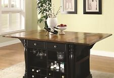 ELEGANT BLACK KITCHEN ISLAND CART DINING TABLE KITCHEN DININGROOM FURNITURE