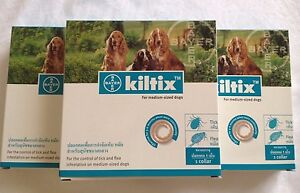 3x Kiltix Dog Collar Tick Flea 5 months control Medium size infestation Bayer
