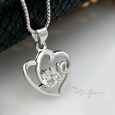 925 Silver love heart w white crystal Rhinestones pendant necklace - SH5