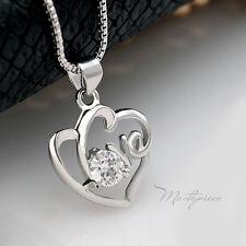 925 Silver love heart w white crystal Rhinestones pendant necklace - SH5