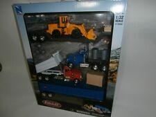 Newray Peterbilt Semi Dump Truck Trailer Lowboy Big Rig Loader Playset 1:32