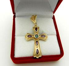 Beautiful 14k Yellow Gold Ruby Emerald Diamond CROSS Charm Pendant