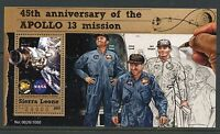 SIERRA LEONE 2015 45th ANN OF THE APOLLO 13 MISSION LOVELL HAISE SWIGERT S/S  NH
