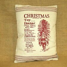 Christmas Toy Bazar Vintage Advertisement Throw Pillow Primitives by Kathy
