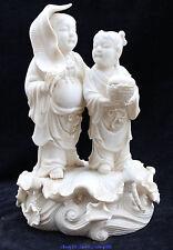 """9"""" Chinese Dehua De Hua White Porcelain concordance Hehe 2 Immortals Gods Statue"""