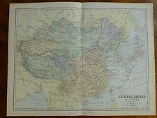 1874 INCISIONE MAPPA Impero Cinese & Giappone-J. BARTHOLOMEW Mongolia Tibet