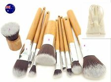 NEW AUS 10PC Bamboo Foundation Powder Blush Face Makeup Brushes Set +linen bag