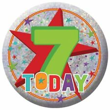 Holography Happy 7th Birthday Badge 7 Today Party Celebration