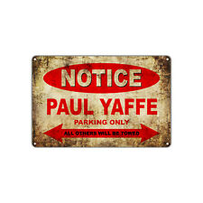 PAUL YAFFE Motorcycles Parking Sign Vintage Retro Metal Art Shop Man Cave Bar