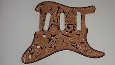 """Leather pickguard Custom Hand Tooled Leather Stratocaster """"Floral Riffs"""" Laced"""