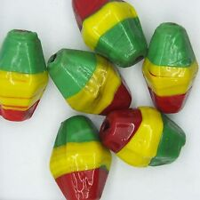 Glass Beads Red Yellow Green Rasta Opaque Lozenge 25mm Pack of 6. Made in India.
