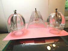 Crystal Art Asso. Crystal oil lamps,Paperweights Pyramid Shaped & 2-Oval-Poland