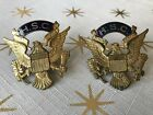 Lot 2 WWI US Army Officer Visor Hat Insignia Badge Side Buttons Eagle HSC Brass