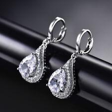 HUCHE Retro Vintage Drop Pear Dangle Diamond Silver Gold Filled Women Earrings