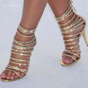 Women Pump Bling Gold Crystal Sandal Strappy Gladiator Shoes Stiletto High Heels