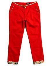 Welso Red Cropped Cigarette Pants With Plaid Check Trim