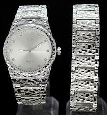 Mens Nugget Design Watch & Bracelet Set 14k Gold Plated Hip HopRapper Fashion