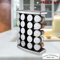 Olde Thompson Stainless Steel 20 Jar Spice Rack With Spices  FREE P&P UK