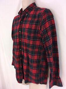 Chaps Mens S Red Tartan Plaid Cotton Flannel Shirt