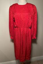 New listing Vintage 80s Liz Claiborne Red Silk Damask Dots long sleeve Dress w/pockets 6