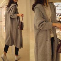 Women Hooded Loose Knit Sweater Cardigan Coat Oversize Outwear Long Warm Comfy