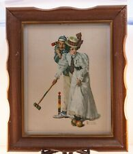 Vtg Norman Rockwell 1972 Art Print Wicket Thoughts Playing Croquet Wooden Frame