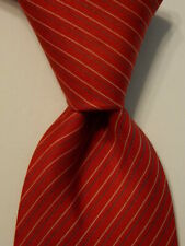 HERMES 5140 HA Men's Silk XL Necktie FRANCE Luxury STRIPED Red/Gray/White GUC