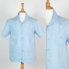 VINTAGE GUAYABERA SHIRT MENS SHORT SLEEVE CASUAL BLUE CUBAN ROCKABILLY BOWLING M