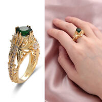 14k Gold Emerald Diamond Ring Women Anniversary Engagement Wedding Gemstone Ring