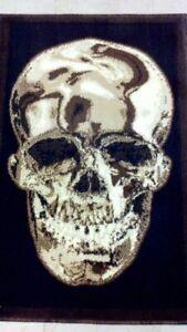 Skull Area Rug Brown & Black Americana Design 134 (5 Feet 2 Inch X 7 Feet 3)