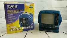 JWIN Portable Blueberry B&W Personal TV/Radio Combo AC/DC Adapter w/Car Charger