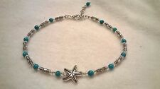 Genuine blue turquoise beads with Tibetan silver ankle bracelet, anklet
