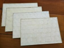 """Vintage Capiz Shell Placemats Mother of Pearl Cork Backed 18"""" x 12"""" Set Of 4"""