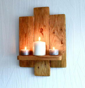 TRIPLE PANEL 40CM RECLAIMED WOOD RUSTIC WALL SCONCE LED CANDLE HOLDERS